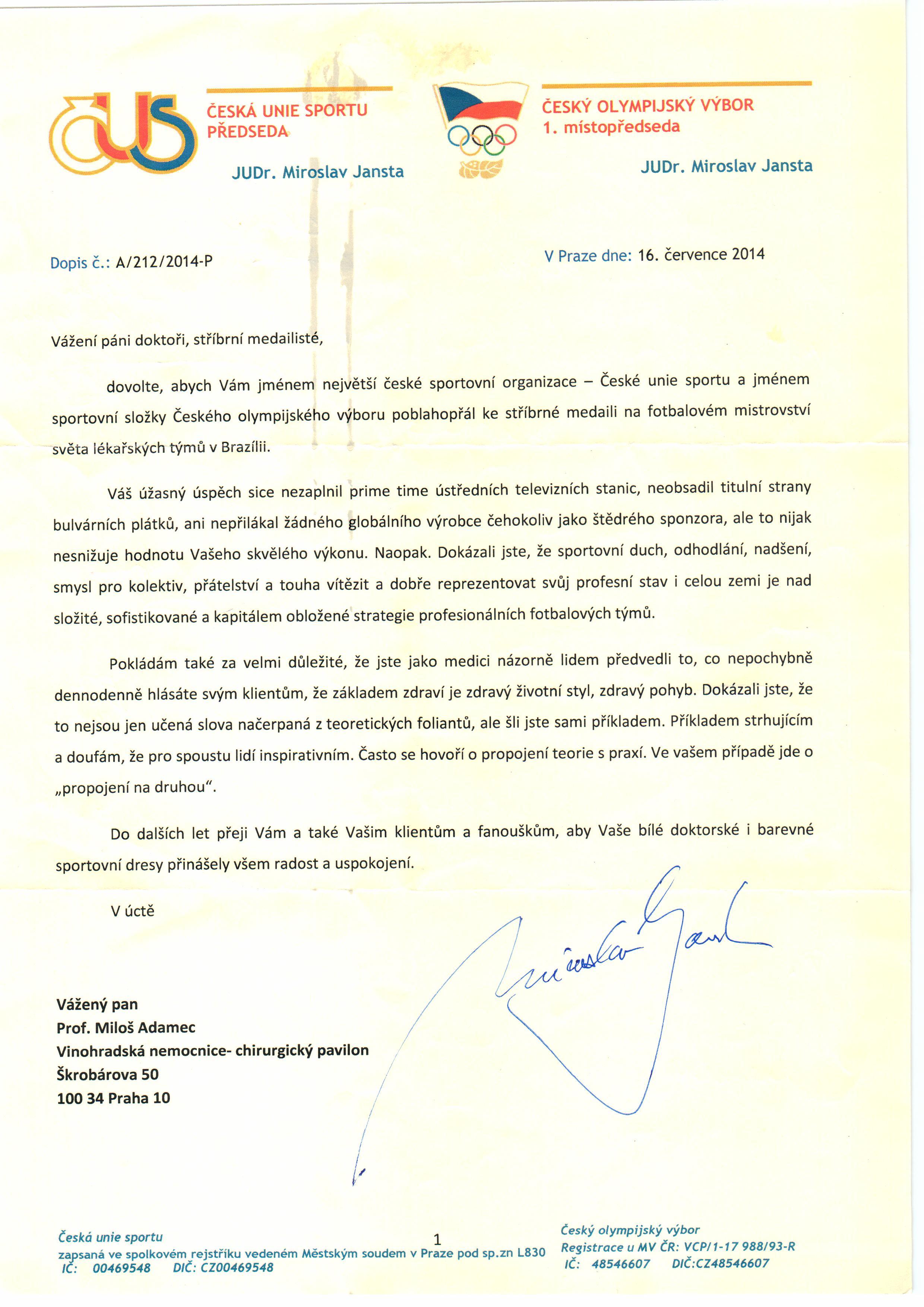 Dopis od předsedy ČESKÉ UNIE SPORTU